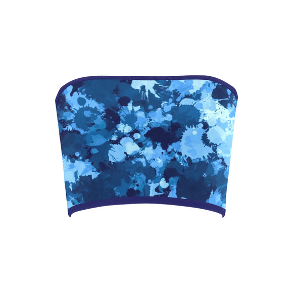 Blue Paint Splatter Bandeau Top | BigTexFunkadelic