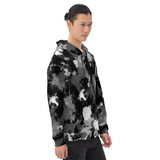 Black White and Grey Paint Splatter Pullover Hoodie | BigTexFunkadelic