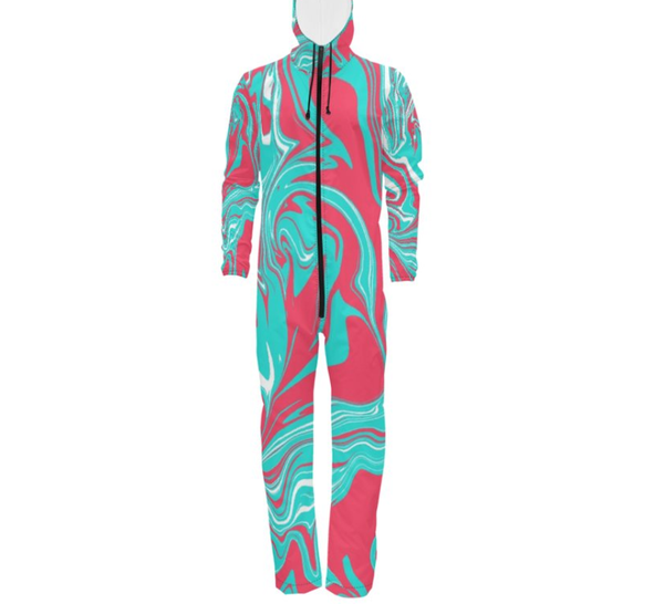 "Turquoise Pink and White 90s Fiesta Waterproof ""Hazmat Suit"" Onesie Jumpsuit (Tall Fit) 
