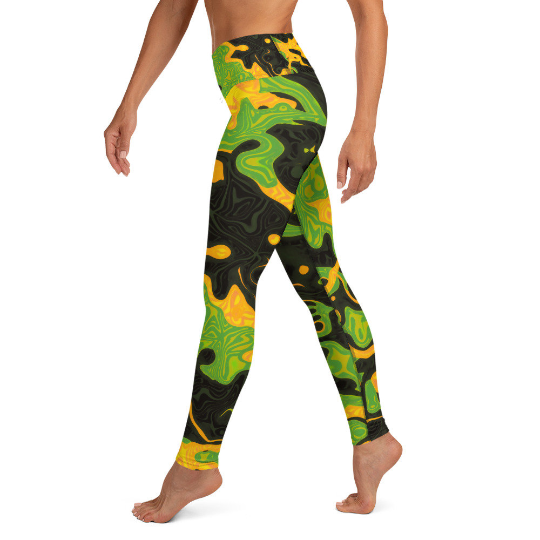 Green and Orange Rave Camo Yoga Leggings | BigTexFunkadelic