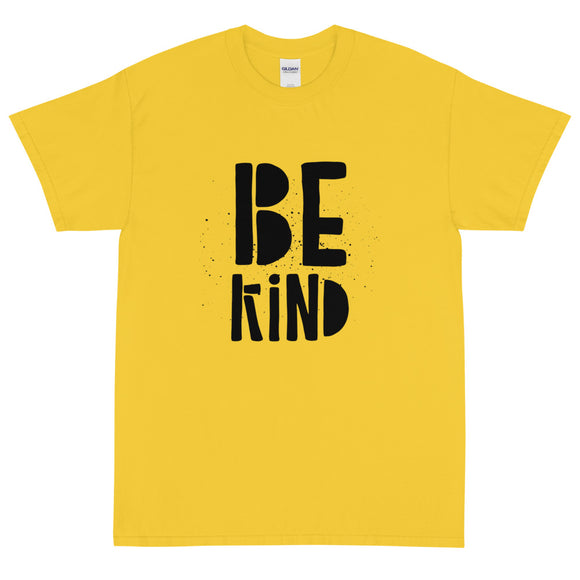 Be Kind Short Sleeve T-Shirt | Black Text on Daisy Yellow | BigTexFunkadelic