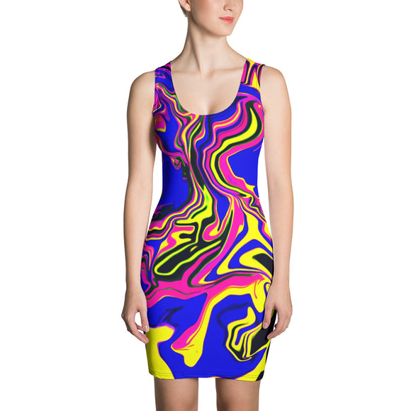 Blue Oil Spill Psychedelic Bodycon Dress | Festival Fashion | BigTexFunkadelic