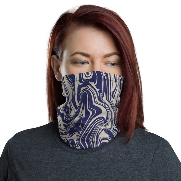 Blue and Silver Oil Spill Neck Gaiter Mask | BigTexFunkadelic