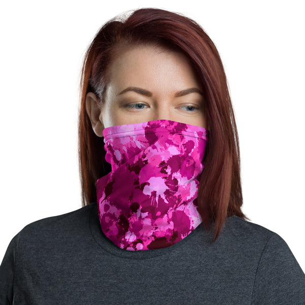 Pink Berry Paint Splatter Neck Gaiter Mask | BigTexFunkadelic