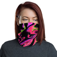 Pink and Black Psychedelic Rave Neck Gaiter Mask | BigTexFunkadelic