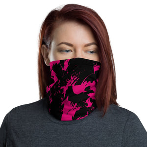 Pink and Black Paint Splatter Graffiti Neck Gaiter Mask | BigTexFunkadelic