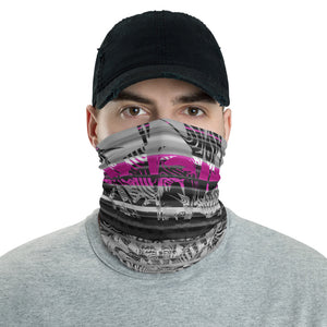 Pink and Grey Ninja Chrome Neck Gaiter Mask | BigTexFunkadelic