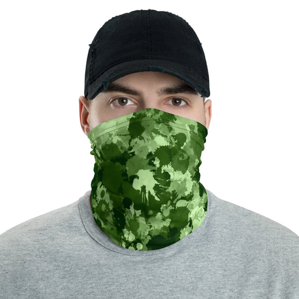Green Paint Splatter Camo Neck Gaiter Mask | BigTexFunkadelic