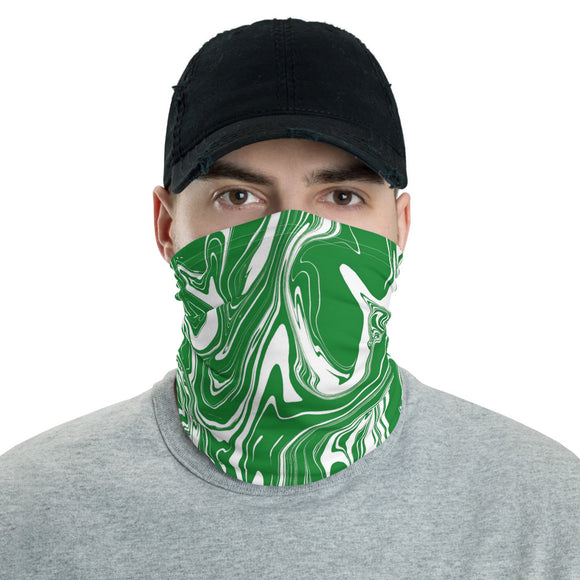 Green and White Oil Spill Neck Gaiter Mask