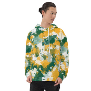 Green White and Gold Paint Pullover Hoodie | BigTexFunkadelic
