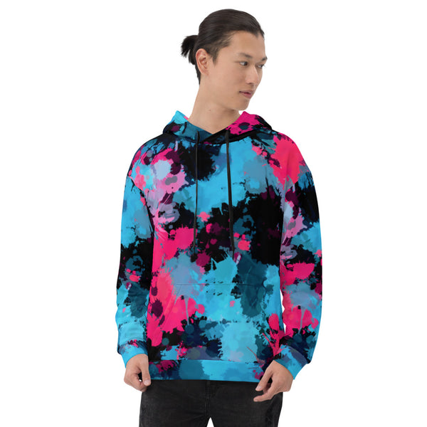 Pink and Blue Paint Splatter Pullover Hoodie | BigTexFunkadelic