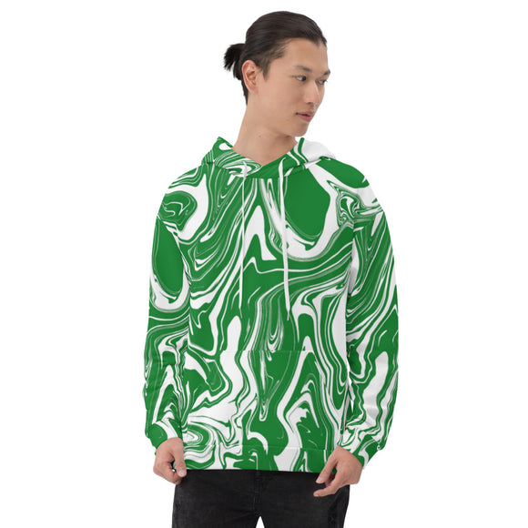 Green and White Oil Spill Pullover Hoodie | BigTexFunkadelic