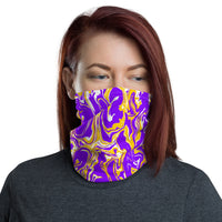 Purple Gold and White Oil Spill Neck Gaiter Mask | BigTexFunkadelic