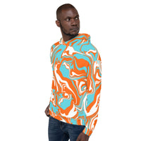 Orange Turquoise and White Oil Spill Pullover Hoodie | BigTexFunkadelic