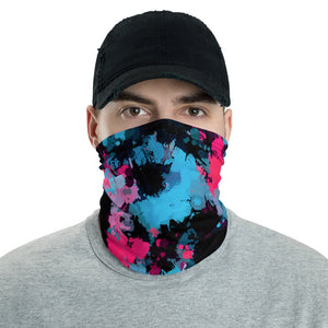 Pink and Blue Paint Splatter Neck Gaiter Mask | BigTexFunkadelic
