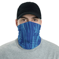 Blue Wood Grain Oil Spill Neck Gaiter Mask | BigTexFunkadelic