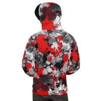 Red and Grey Paint Splatter Pullover Hoodie | BigTexFunkadelic