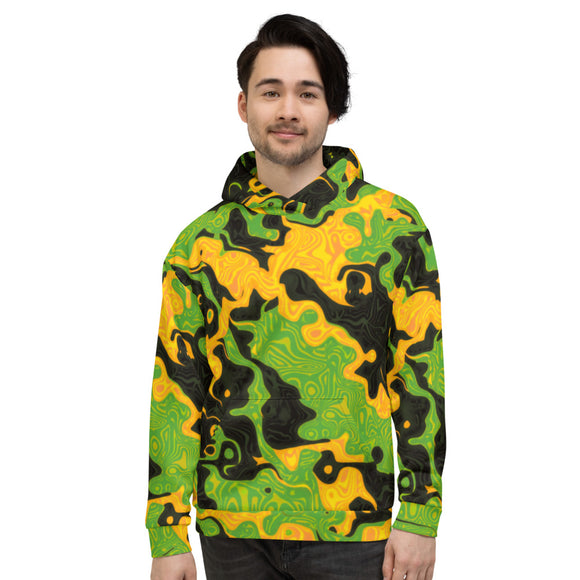 Green and Orange Rave Camo Pullover Hoodie | BigTexFunkadelic