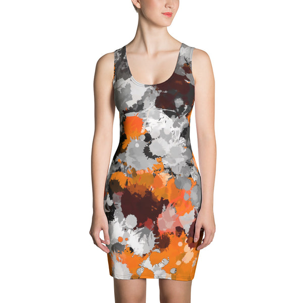 Orange and Grey Paint Splatter Bodycon Dress | BigTexFunkadelic
