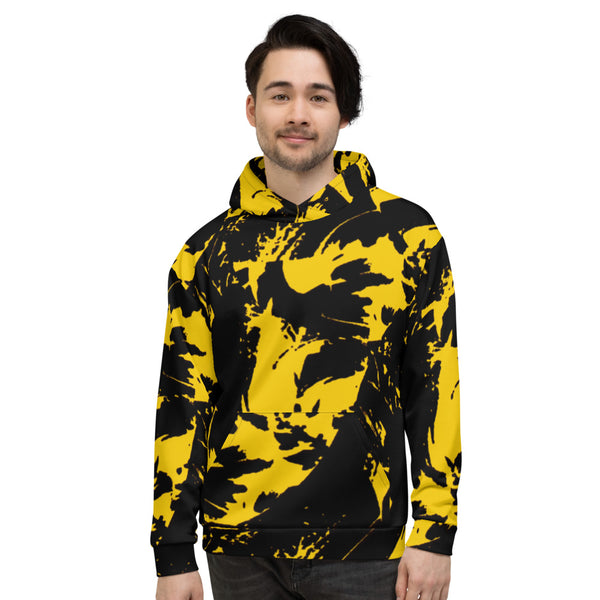 Black and Yellow Paint Splatter Pullover Hoodie | BigTexFunkadelic