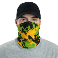Green and Orange Rave Camo Neck Gaiter Mask | BigTexFunkadelic
