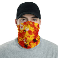 Red and Gold Paint Splatter Neck Gaiter Mask | BigTexFunkadelic