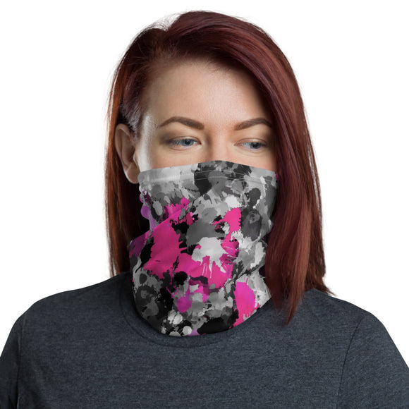 Pink and Grey Paint Splatter Neck Gaiter Mask | BigTexFunkadelic