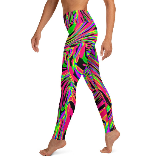 Neon Acid Wave Pink Yoga Leggings | BigTexFunkadelic