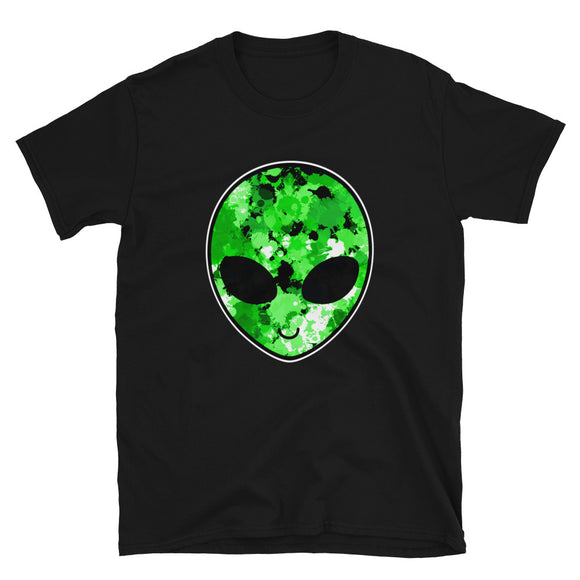 Green Alien Head Short-Sleeve Unisex T-Shirt | Black | BigTexFunkadelic