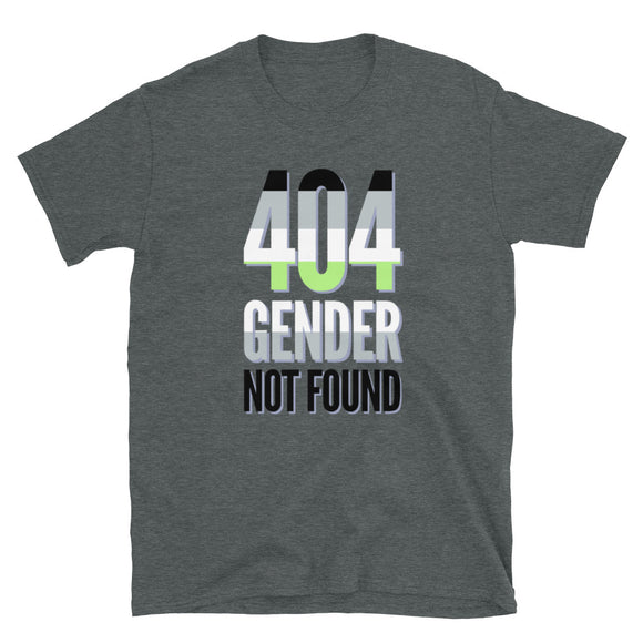 404 Gender Not Found Agender Pride Short-Sleeve Unisex T-Shirt | Dark Heather | LGBTQ+ Pride | BigTexFunkadelic
