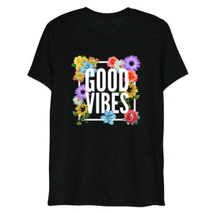 Good Vibes Floral Tri-Blend Short Sleeve T-Shirt | True Royal | BigTexFunkadelic