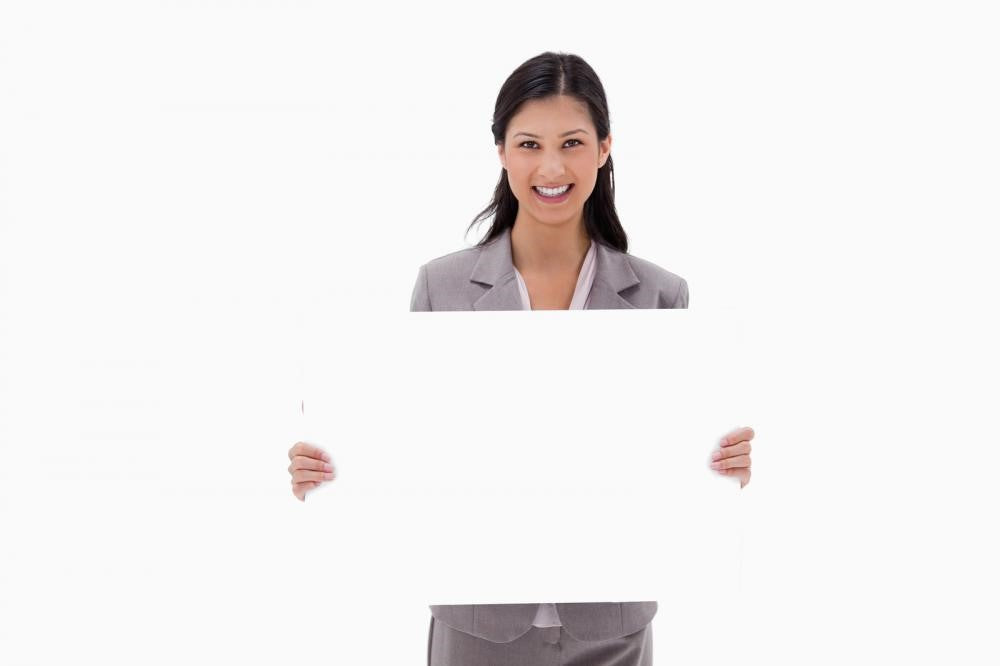 A Woman Holding a Blank Rigid Sign