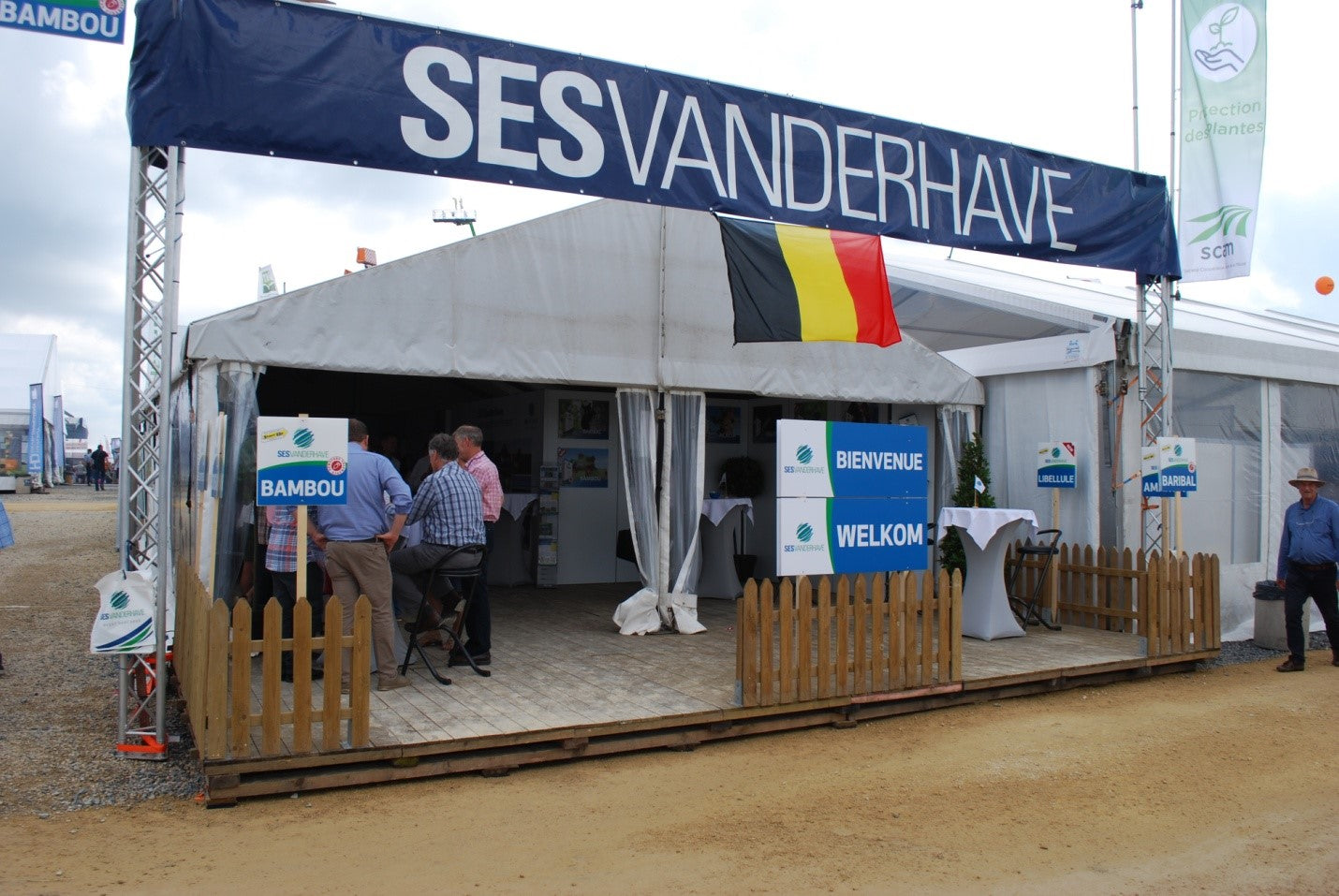 An image of an exhibition stall set up outdoors.