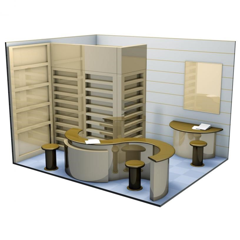 Brown and gold exhibition stand design