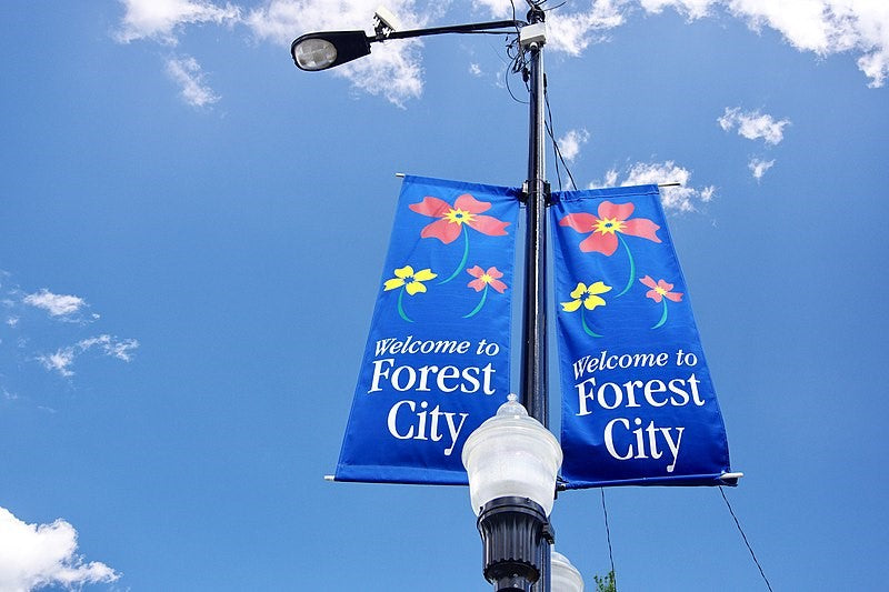 Blue fabric banner signs