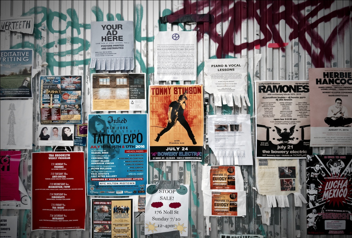 Flyers on a Container Wall