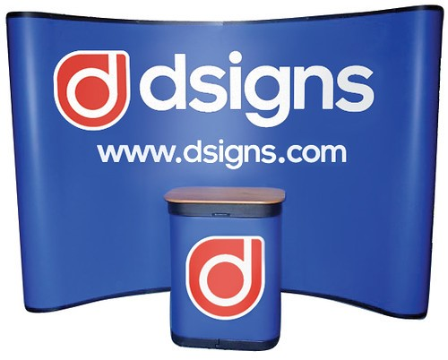 Blue pop up display sign