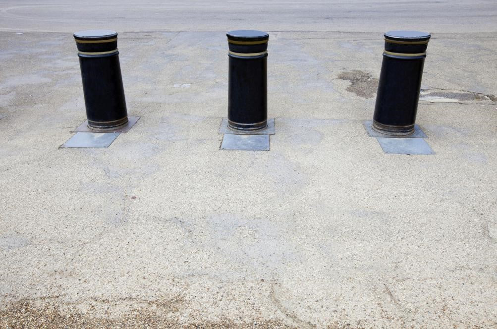 Bollards on the side of a road