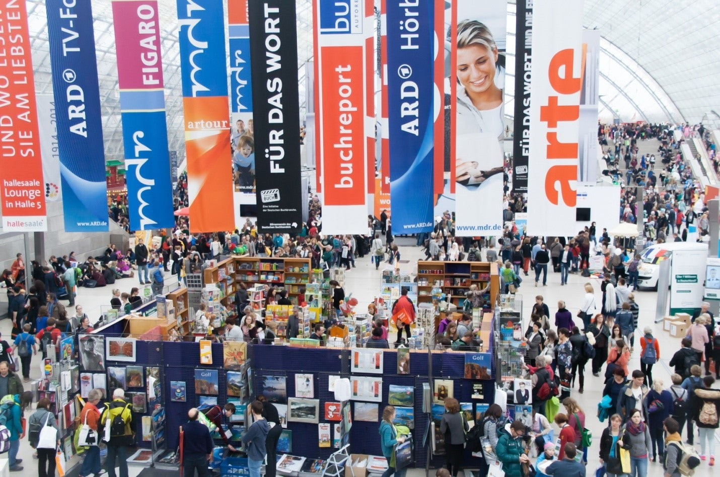 An image of visitors attending a trade show.