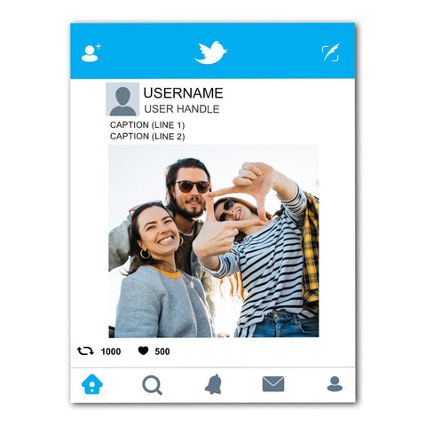 Twitter Selfie Frame prop cut out board for marketing needs