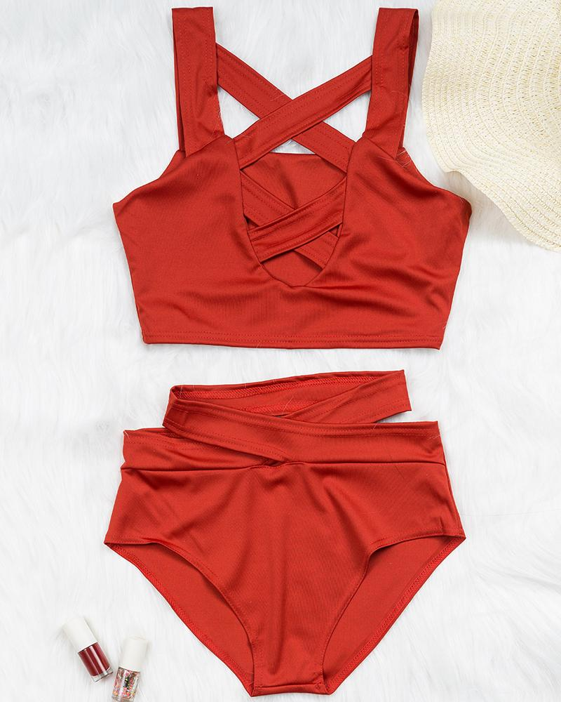 Criss Cross Cut Out High-waist Bikini Set