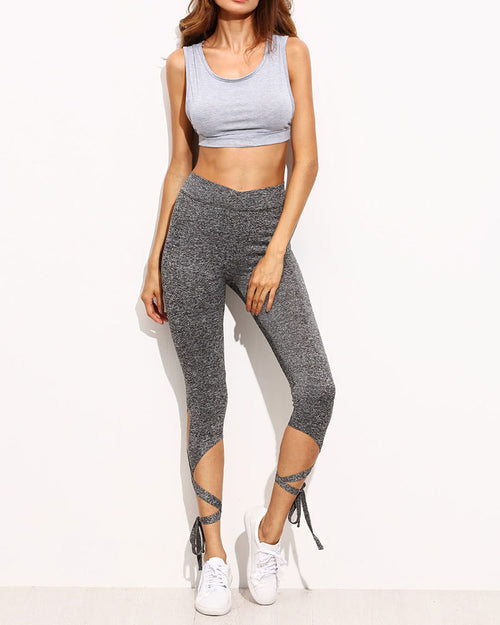 Active High Waist Lace up Leggings