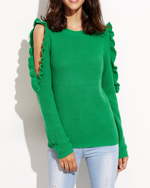 Green Open Shoulder Ruffle Knit Sweater