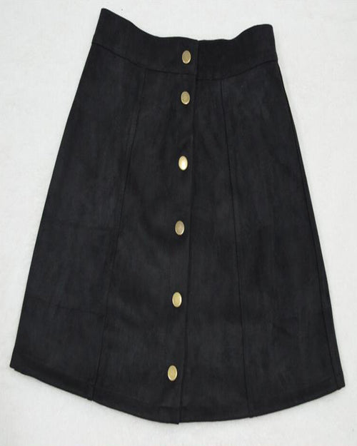 Black Contrast Button Up Suede Skirt
