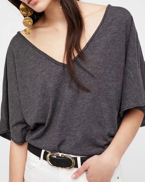 Pure Color Backless V Neck Tee