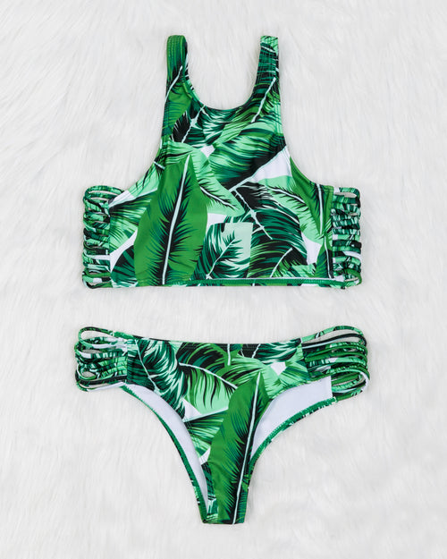 Green Leaf Print Lace Up Ladder Cut Out Racerback Tankini