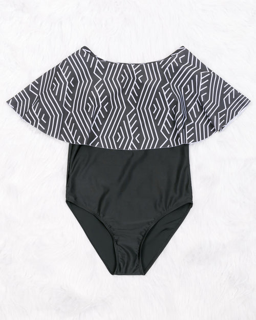 Ruffle Geometric Print Off Shoulder One-piece Swimsuit