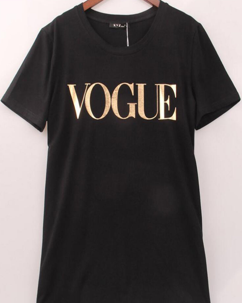 Rolled Sleeve Vogue Slogan Print T-shirt