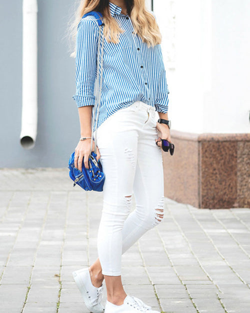 Basic Lapel Multicolor Stripe Blouse