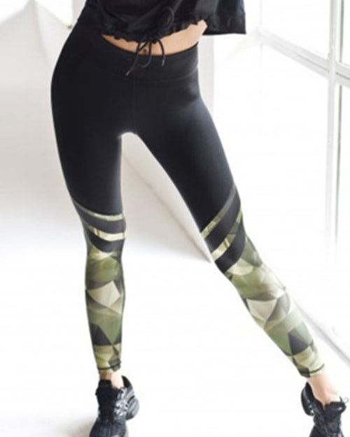 Active High Waist Camouflage Print Leggings
